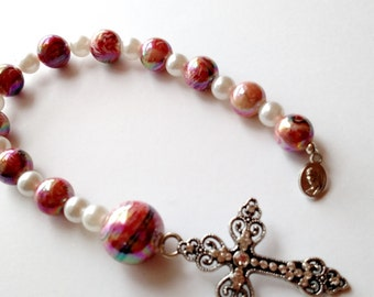 Chaplet in Pink and White, Chaplet for Baptism, Chaplet for Confirmation