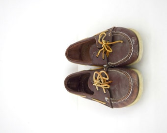 Vintage men's Sperry Top Sider shoes / brown leather boat shoes