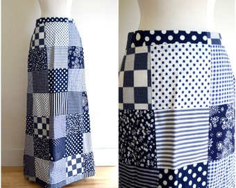 Vintage 1970's blue and white patchwork maxi skirt