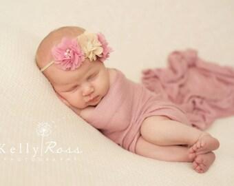 Infant headbands, tan, mauve, baby headband, newborn headband, baby girl, elastic headband, headband, newborn girl, baby elastic headband
