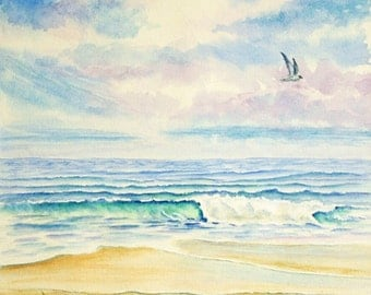 Ocean Beach Original Watercolor Painting, Large Painting,  20 x 14, blue green violet yellow