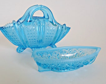 2 Blue Pressed Glass Candy Dish Small Basket Fenton Boat
