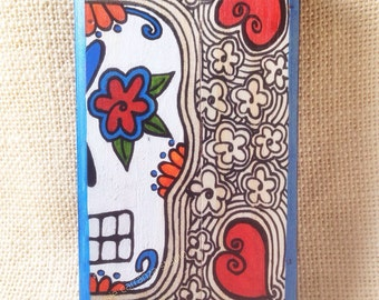 Sugar Skull Love - original art by Susie Carranza.  Mini wood canvas. Dia de los Muertos art.