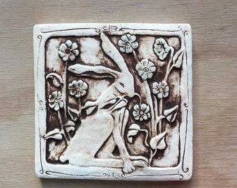 Rabbit with Flowers 6x6 inch handmade porcelain tile