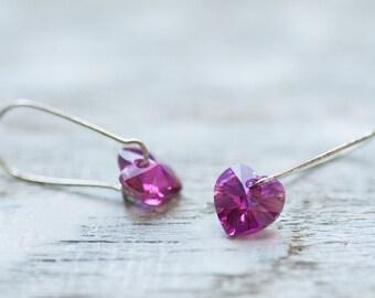 Small Heart Earrings, Pink Heart Earrings, Small Earrings, Romantic Earrings, Crystal Earrings, Swarovski Heart Earrings, Crystal Jewelry