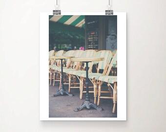Paris cafe photograph Paris photograph mint home decor travel photography Paris decor France photograph street photography