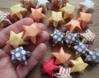 LARGE Autumn Origami Stars, set of 24. Thanksgiving Table Scatter.