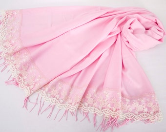 Luxurios bright   pink pashmina shawl scarf with french lace border  ,bridesmaid shawl, bridesmaid gift -WITH COLOR OPTION