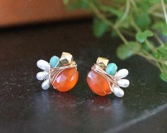 Small orange carnelian earrings - cluster gemstone studs - wire wrapped cluster stud earrings - 14k gold filled