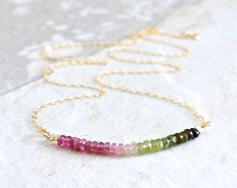 14k solid gold : Tourmaline ombre beaded necklace - Pink and green