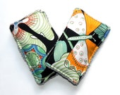 Unsponges - Set of 2 Kitchen, Shower or Bath reusable eco friendly sponges - Butterfly Flowers in orange, mint green and grey