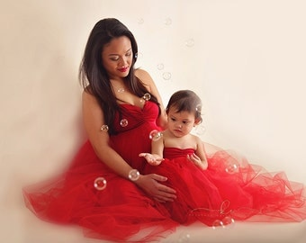Stephanie  Christmas / Valentine  gown/Tulle maternity Gown, Tulle dress, Tulle prom dress, Tulle long dress