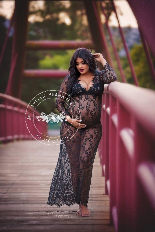 Rts Black Lace Maternity Dress Floor Length Maxi