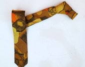 Black GreyVintage 1950s 1960s Mod Skinny Neck Tie -  Yellow Gold Orange Brown abstract floral mid century modern. Wembley