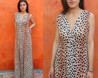 Vintage 1960s 1970s Leopard print MAxi Dress. Sleeveless. Animal print festival dress boho hippie gypsy coachella bohemian