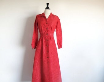 Valentine 1/2 Off Sale Vintage 50s Red Dress, Long Sleeve Gown, Red Button Dress, 1950 Long Dress, Red Shirtwaist, Hostess Gown