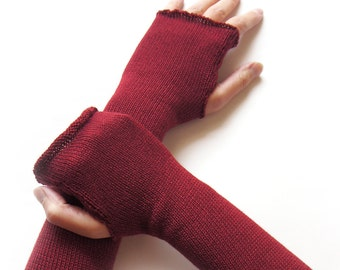 Long Fingerless Gloves, Thumbhole Arm Warmers