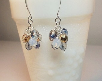 30% Off SALE thru Mon Blue Opal Peach Crystal Cluster Earrings, Mothers Day Gift, Bridesmaid Mom Sister Birthday Aunt Jewelry Gift, Wedding