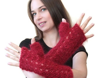 RED FINGERLESS GLOVES Mohair Hand Knit Gloves by Solandia, Long Romantic Arm Warmers, Winter Gloves, Spring Autumn, Cool Weather Gloves