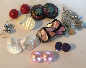 Pierced & Clip Earrings Vintage De-stash lot 970