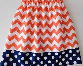 Tween, girl, toddler, baby navy blue polks dot and coral chevron fabric skirt sizes NB 3m 6m 12m 18m 24m 2t 3t 4t 5T 6 7 8 10 12 14 16