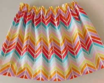 Aztec girl, toddler, baby, tween, orange, aqua  blue, yellow, red chevron, purple,  feather  rainbow colors skirt NB - 16