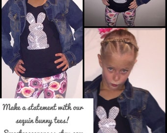 Sparkle Mom, tween, girl, toddler, baby SHIRT with bunny rabbit applique in glitter silver sequin - fun for kids and adults