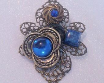 Vintage Blue Collage Assemblage Filigree Brooch Pin