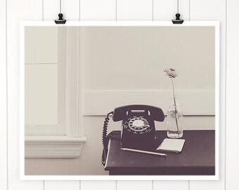 Still Life photography black rotary phone, retro decor, vintage style print, cottage decor, rotary phone photograph, still life, home decor