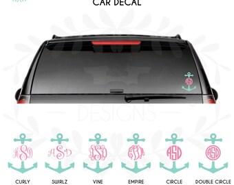 "6"" Monogram Vinyl  Anchor Car Decal"