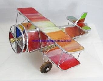 Stained Glass Airplane Kaleidoscope ~ Bi-Plane Red Orange Green Kaleidoscope ~ Handmade USA ~ Pilots ~ Unique Gifts ~ Fun Beautiful View