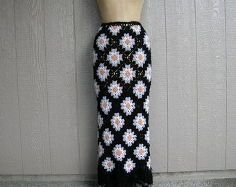 Vintage GRANNY IS GROOVY Granny Square Maxi Skirt