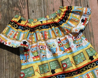 Girl's Infants Toddlers School Owls Peasant Dress