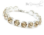 Champagne Bridal Bracelet Pastel Bride Bracelet Swarovski Crystal Light Silk Wedding Jewelry Beige Bridesmaid Gift Soft Gold Tennis Bracelet