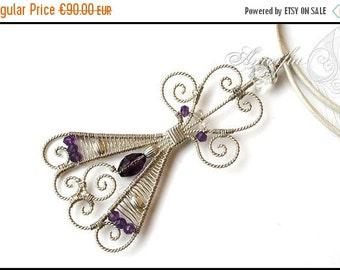 ON SALE Purple , Sterling silver , gemstone , angel pendant