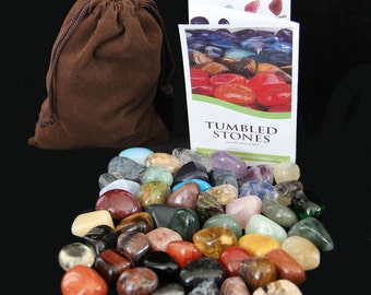 HUGE 50 Stone Set of PREMIUM Tumbled Stones Pouch - Gemstone ID Chart - No Duplicates