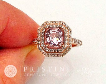 Asscher Cut Rose Pink Champagne Spinel Gemstone Engagement Ring 14k Rose Gold Double Diamond Halo Sapphire Engagement Alternative Weddings