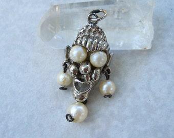 Vintage Selini Clown Charm Pendant Faux Pearls Silver Tone