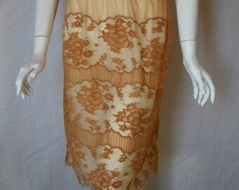 1950s Vanity Fair Beige Gold Half Slip, small , medium, Lace