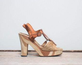 6 B | Women's Wooden Platform Sandals with Leather & Hemp Straps