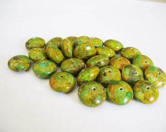 Mosaic Beads Gemstone Green Orange Rondelle 14x8MM