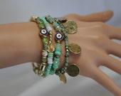 Evil Eye, Evil Eye Bracelet set, Multistrand Evil Eye Bracelet, Stretch Evil Eye Bracelet, Gift for her, Good luck charm, Green bracelet