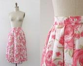 vintage 1960s skirt // 60s pleated floral skirt