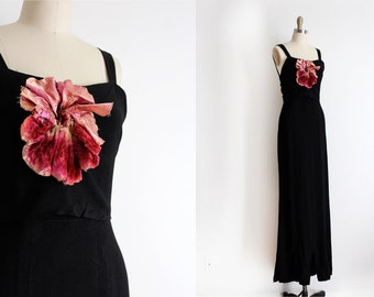 vintage 1930s gown // 30s black crepe gown with realistic flower