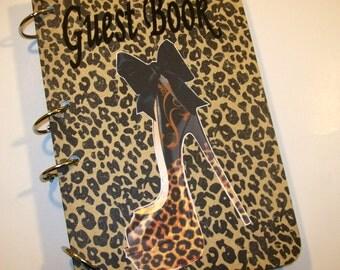 Guest Book, Leopard Diva Birthday, Birthday Guest Book, Leopard Party Supply, Leopard Baby Shower, Diva Baby Shower, Party Memory Book,