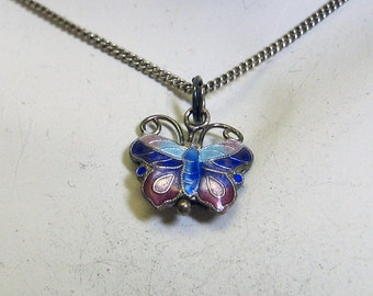 Three Dimensional Tiny Cloisonne' Butterfly Pendant Necklace