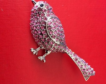 Sweet Song Bird Vintage Pink Rhinestone Covered Silver Tone Brooch