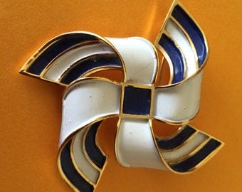 Vintage signed Trifari Blue and White Enamel Pinwheel Brooch