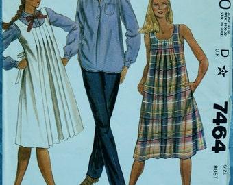 Vintage Maternity Pattern Mother to be Jumper Sundress Pants Blouse McCalls 7464 Uncut 1981