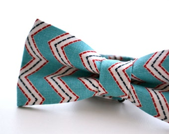 Mens Bowtie Turquoise and Red Chevron, Teal Bow Tie, Turquoise Bow Tie, Pre Tied Bow Tie, Adjustable Bow Tie